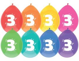 """Ballon """"3"""" (8 stuks)"""