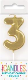 "Kaarsje goud ""3"""