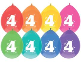 """Ballon """"4"""" (8 stuks)"""