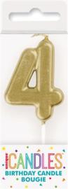 "Kaarsje goud ""4"""
