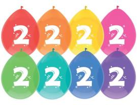 """Ballon """"2"""" (8 stuks)"""