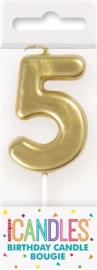 "Kaarsje goud ""5"""