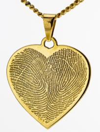 14 kar goud   hart hanger met 2 vingers in hartgravure