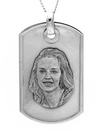 zilver dogtag hanger foto/vingerprint