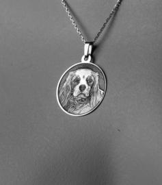 .925 zilver ronde fotohanger met verdieptreliëf