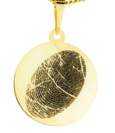 14 kar goud ronde hanger met  gravure