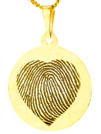 14 kar goud rond hanger met hartgravure