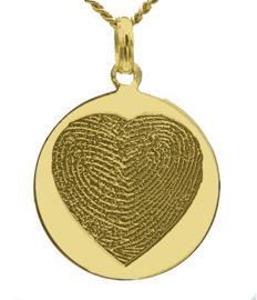 14 kar goud ronde hanger met 2 vingers in hartgravure
