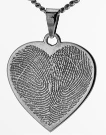 zilver hart hanger met dubbel hartgravure