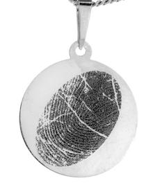 zilver rond hanger met gravure