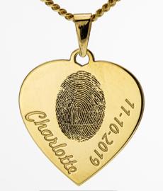 14 kar goud hart hanger met vingergravure en tekst