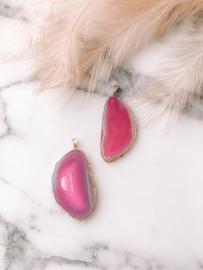 Roze Agaat Hanger (voor aan ketting)