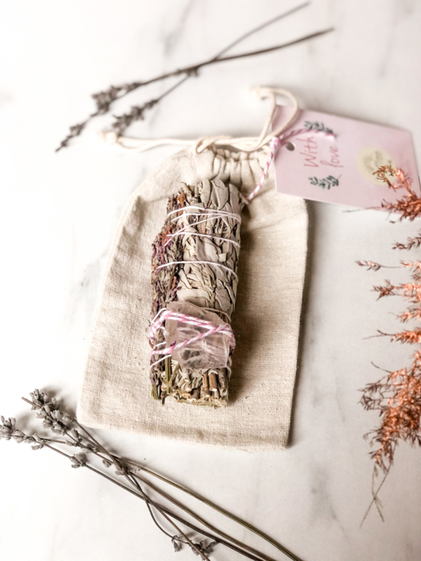 Lavender-Rose Quartz Smudge-stick
