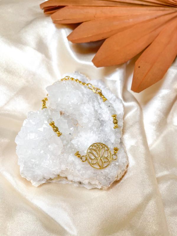 Maansteen Lotus Armbandje