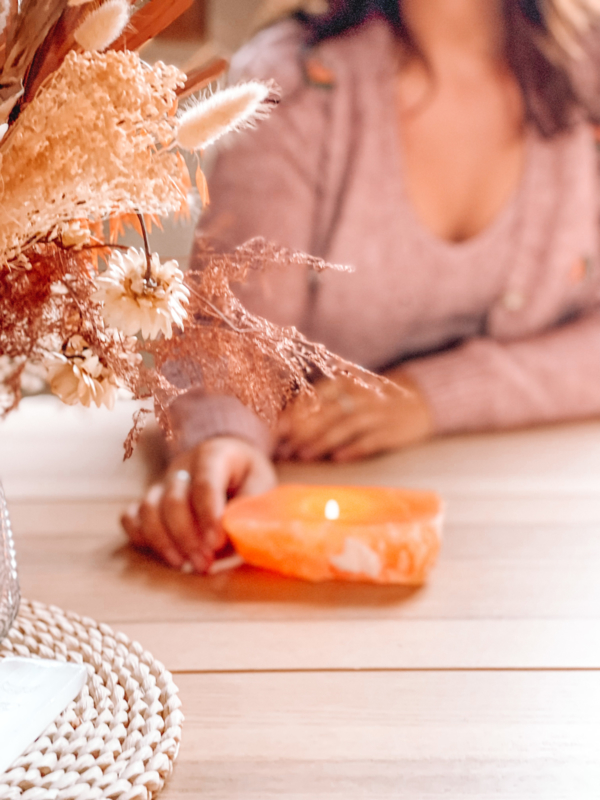 Oranje Calciet theelichtje