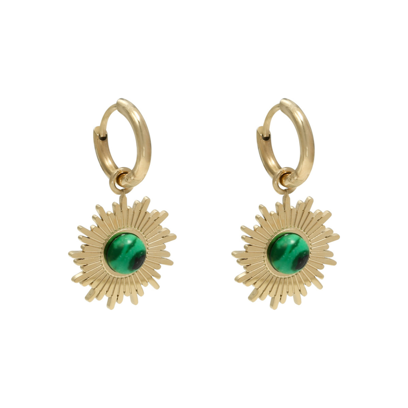 Malachiet Sun Earrings