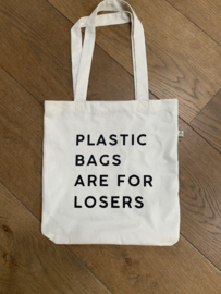 "Katoenen tas | ""Plastic bags are for losers"""