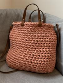 Handgemaakt product: Stoere tas met leren hengsels