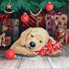Diamond Painting Wenskaart  Xmas Sleeping Puppy