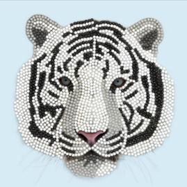 Diamond Painting Wenskaart  White Tiger Head