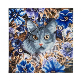 Diamond Painting kaart Cat and Flowers