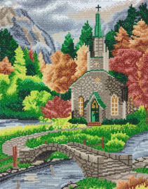 Diamond Painting Crystal Art Church by the River 40x50  Partial Crystal