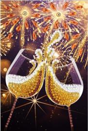 Diamond Painting Wenskaart  Champagne Celebration