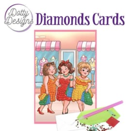 Diamond Painting kaart Bubbly Girls Shopping