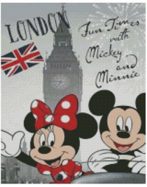 Diamond Painting Miss Coccinelle  Minnie & Mickey in London 40x50