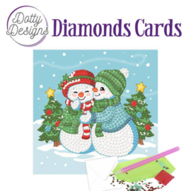Diamond Painting Kerstkaart  Snowman Family
