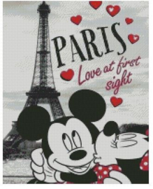 Diamond Painting Miss Coccinelle  Minnie & Mickey in Paris 40x50