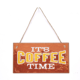 Diamond Painting Hanger hout It's Coffee Time