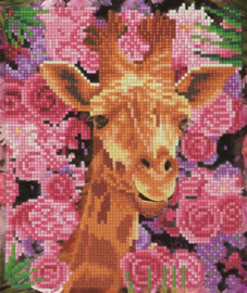 Diamond Painting Crystal Art Picture Silver Frame Giraffe&Flowers