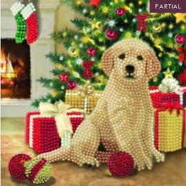 Diamond Painting Wenskaart  Puppy's First Christmas