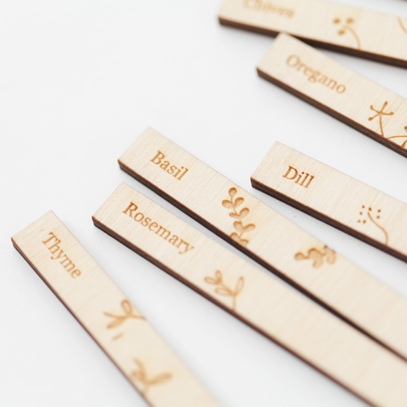 Kruidenlabel set van hout