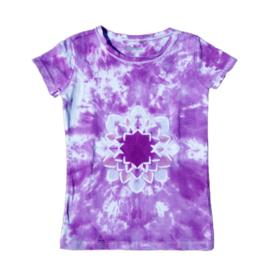 Tie dye t-shirt lotus paars - maat 122/128