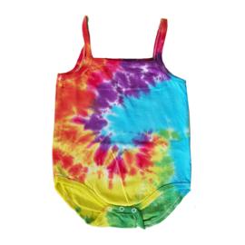 Tie Dye rompertje rainbow spiral - 86-92