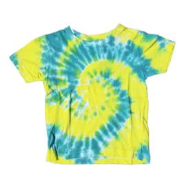 Tie dye t-shirt spiral geel groen - maat 110/116