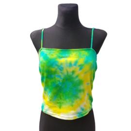 Tie dye croptop - spiral geel groen - Maat M