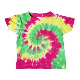 Tie dye t-shirt spiral geel groen rood - maat 98