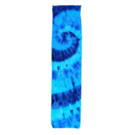 Tie Dye sporthanddoek spiral blauwtinten 30x120 cm