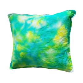 Tie Dye kussen groen geel blauw