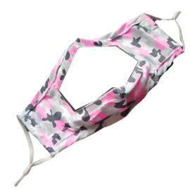 Wasbaar mondkapje met venster - camouflage roze