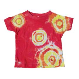 Tie Dye t-shirt rood geel oranje - maat 92