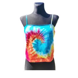 Tie dye croptop - spiral multicolor - Maat L