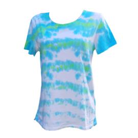 Tie dye T-shirt - blauw groen wit - Maat M