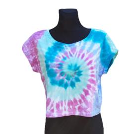 Tie dye boxy top spiral pretty pastel - Maat M