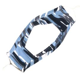 Wasbaar mondkapje met venster - camouflage strepen blauw