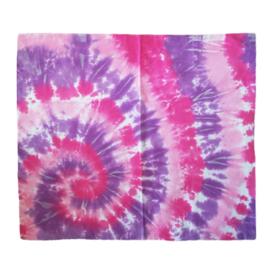 Tie dye kussensloop spiral roze paars