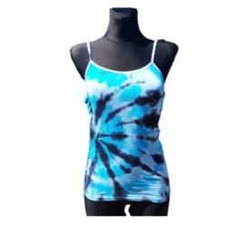 Tie dye spaghetti top - blauw antraciet wit - Maat L